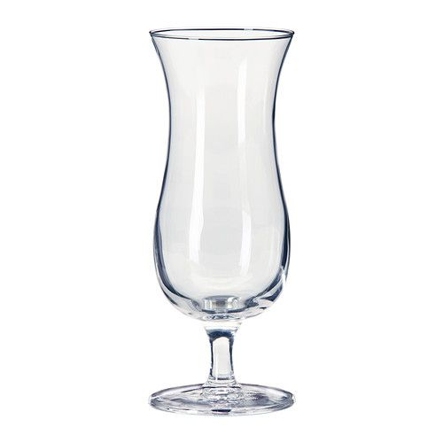 IKEA - TILLTALA, Hurricane glass, The glass has a generous, curved shape which is roomy enough for fruit, and makes it perfect for tropical fruit drinks and mixed drinks. $3 x 4