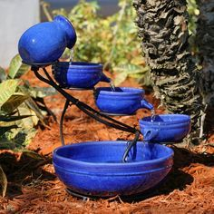 Have to have it. Smart Solar Blue Ceramic Cascade Bird Bath Fountain $139.99