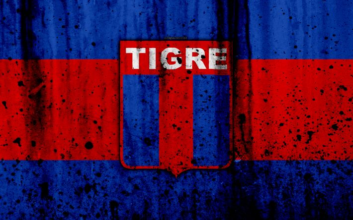 Download wallpapers 4k, FC Tigre, grunge, Superliga, soccer, Argentina, logo, Tigre, football club, stone texture, Tigre FC