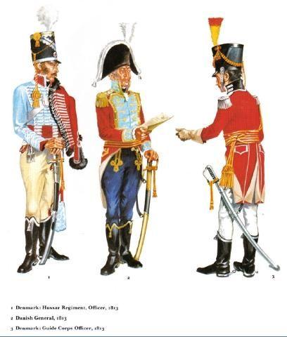 Denmark Officers & General of Hussars 1813