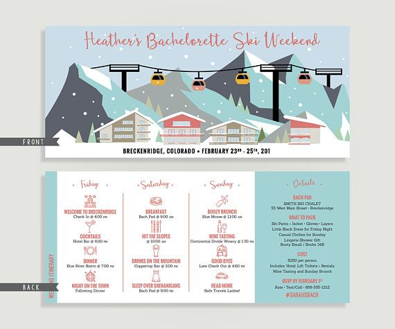 """BACHELORETTE SKI WEEKEND INVITATION & ITINERARY -------------------------------------------------------------------------------------------- This listing is for the invitation shown, which will be customized for you with your event details, colors and font preferences. You can purchase it as a """"We Personalize – You Print"""" Digital Design File or you have the option to allow us to handle the personalization AND printing! You can make your selection at check out by selecting Digital Design O..."""