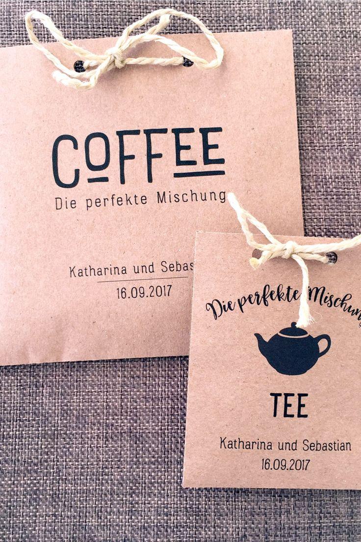 Die perfekte Mischung! - Überrascht eure Hochzeitsgäste mit diesen liebevoll gestalteten Gastgeschenken für Kaffeebohnen und Tee.