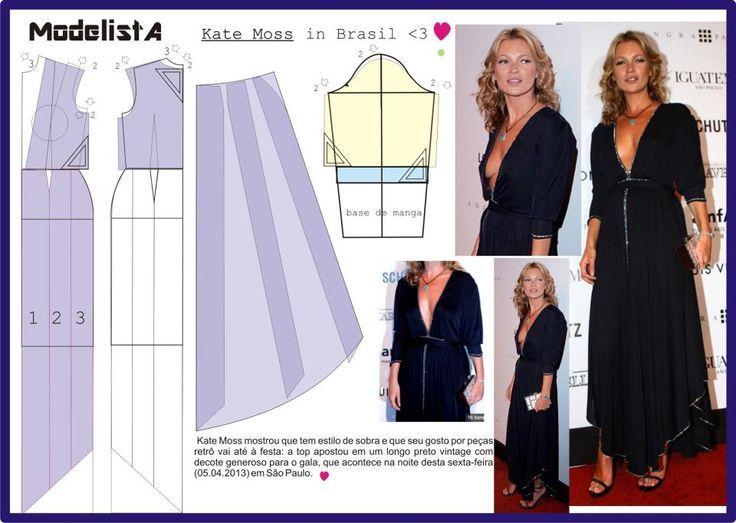 vestido Kate Moss com decote V profundo.