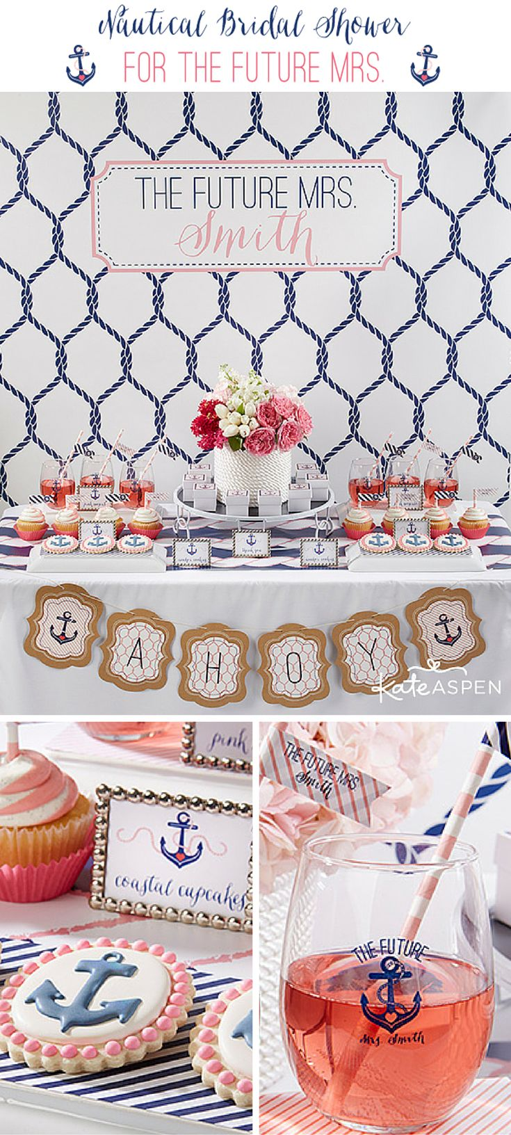 "Ahoy! Celebrate ""The Future Mrs."" with a preppy nautical themed bridal shower."