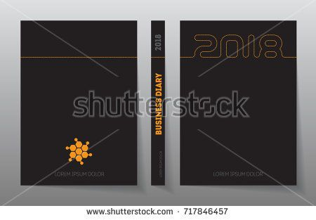 Cover of business diary for 2018 with logo. Vector design template