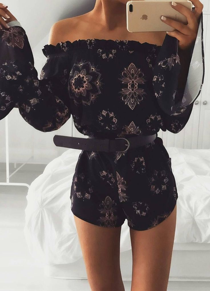 #pretty #winter #outfits /  Off Shoulder Lotus Flare Playsuit