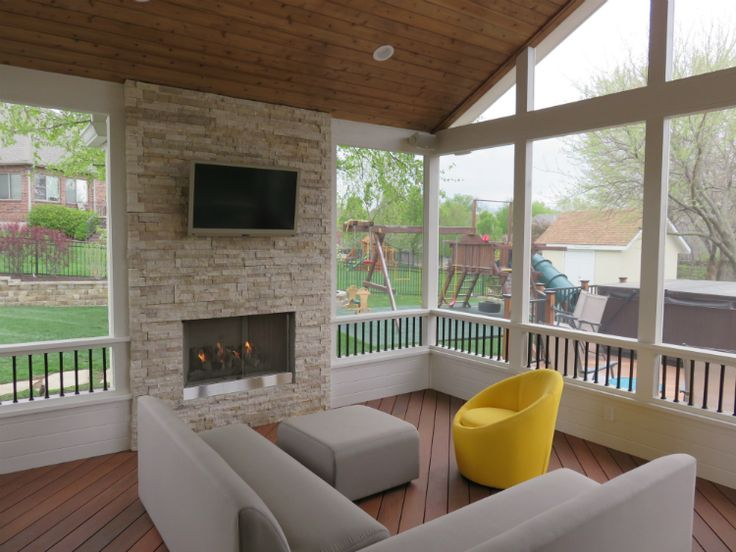 modern screened in porch   Modern screen porch with ... on Outdoor Gas Fireplace For Deck id=82168
