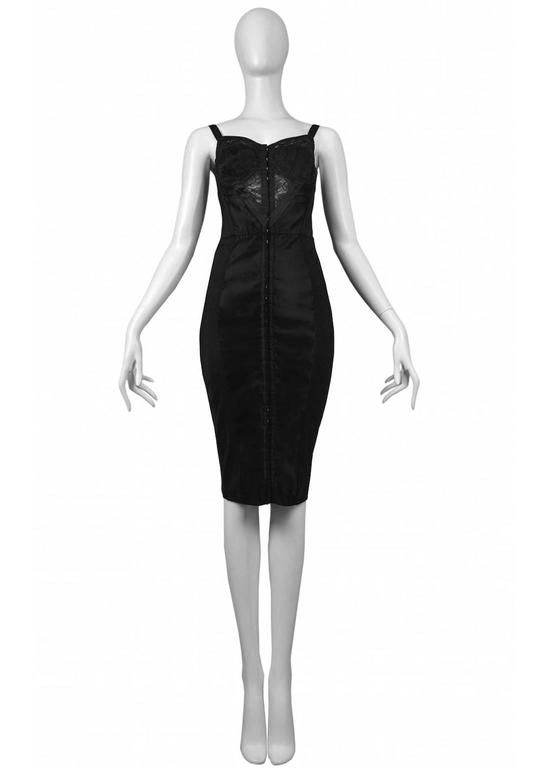 Dolce & Gabbana Black Bustier Dress with Lace 1990