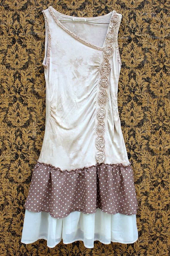 inspiration -  REVIVAL Upcycled Shabby Chic Dress Tunic Polka Dot Size by REVIVAL,