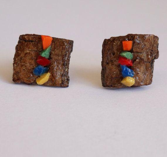 Orecchini in legno a lobo con mosaico colorato fatti a mano; pezzi unici,  idea regalo per lei, boho chic, stile hippie, spedizione gratuita
