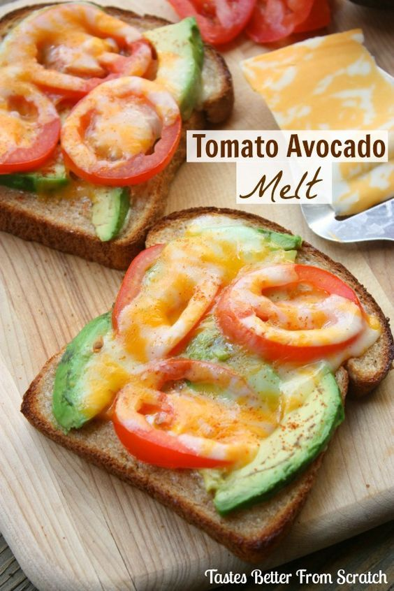 Tomato Avocado Melt ~ Tomatoes avocados and cheese broiled on whole wheat bread with a SECRET INGREDIENT that makes them completely addicting!