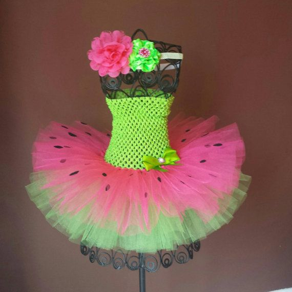 Lime Green and Fuschia Watermelon Tutu Dress & Headband Set