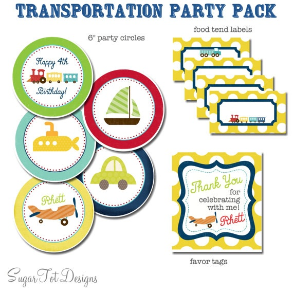 Transportation Birthday Party Pack Trains Plane by SugarTotDesigns, $22.00