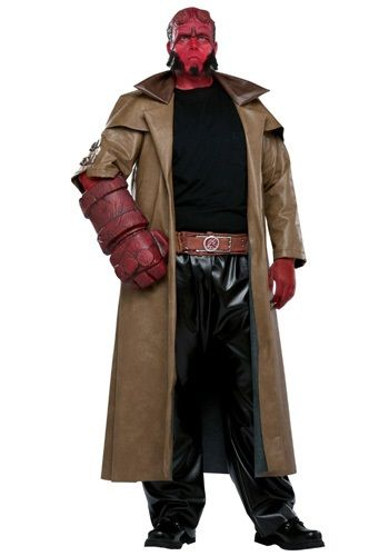 This plus size Hellboy costume is a great choice for Halloween. You'll be all set to take on the dark forces as a member of the B.P.R.D. as this red demon!