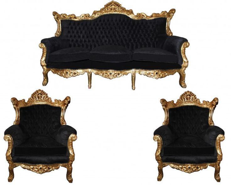 Designer Wohnzimmer Sitzgruppe Masters Gold