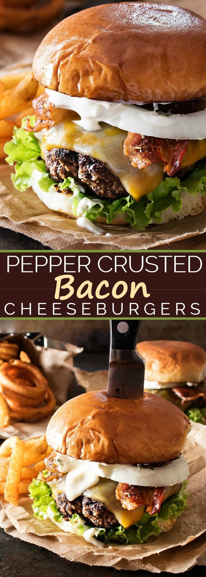 "Pepper Crusted Bacon Cheeseburgers | Nothing beats a great burger. Except delicious pepper crusted bacon cheeseburgers, slathered with a garlic aioli! Make burger night one to remember! | <a href="""" rel=""nofollow"" target=""_blank""></a>"