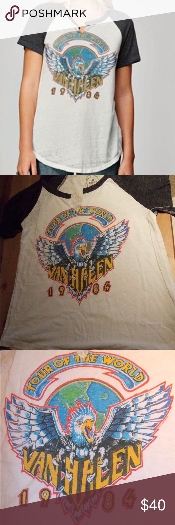 Van Halen Short Sleeve Notch Ragen Tee The Van Halen 1984 World Tour logo appeared on the front of this shirt sleeve burnout slit throat raglan. The tour stops are on the back. Trunk trademark novelty side seem stitching and patch. No flaws to the shirt. Sleeves (neck to bottom) are 8 1/2 inches and the shirt is 17 1/4 inches long. 50% polyester 37% cotton 13% rayon. Trunk Tops Tees - Short Sleeve