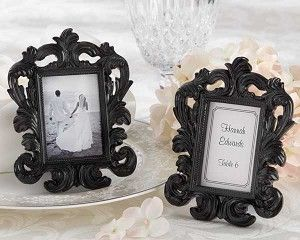 """""""Black Baroque"""" Place Card Holder / Photo Frame - Wedding Favors - Party Favors Wedding photo on one side/ Name and Table number on the other side Party Favor and table number in one"""