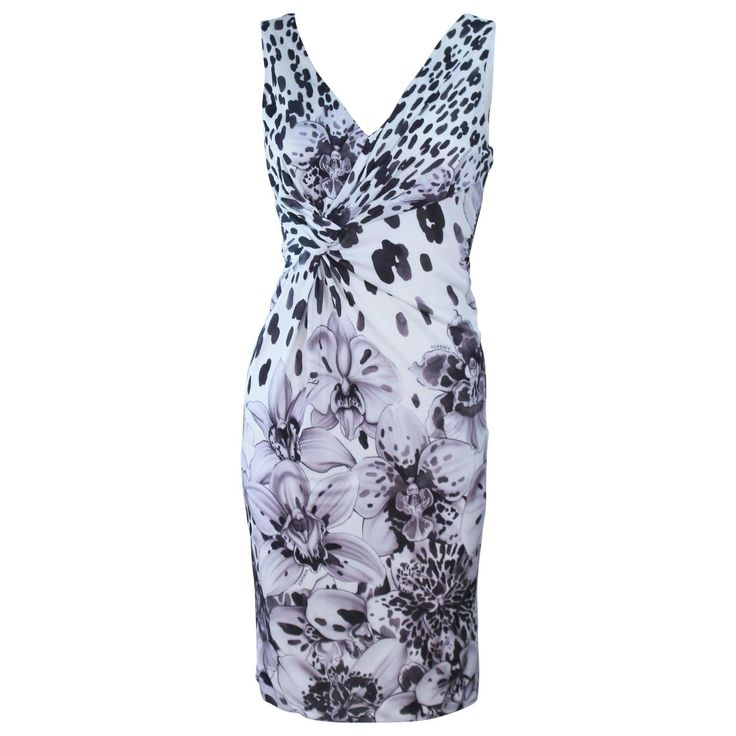VERSACE Stretch Knit Jersey White Floral and Animal Print Cocktail Dress
