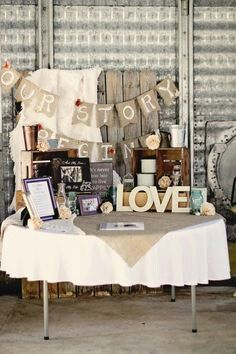 Rustic Wedding entrance table settings