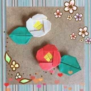 椿 (折り方あり)    - 折り紙&ペーパーフラワー ...+handmade etc...