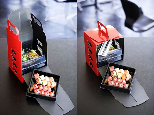 Sushi take-out packaging for take away... Think out of the box!                                                                                                                                                     More