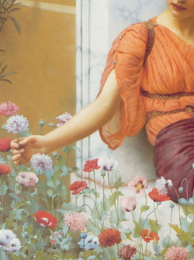 "John William Godward ""Summer Flowers"" 1903,detail."