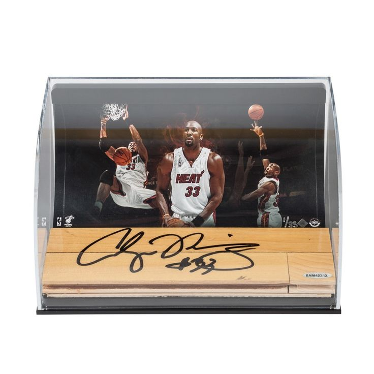ALONZO MOURNING Heat Photo with Autographed NBA Game-Used Floor Curve Display UDA LE 33 - Game Day Legends