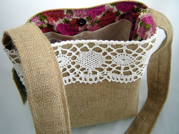 burlap and lace bag