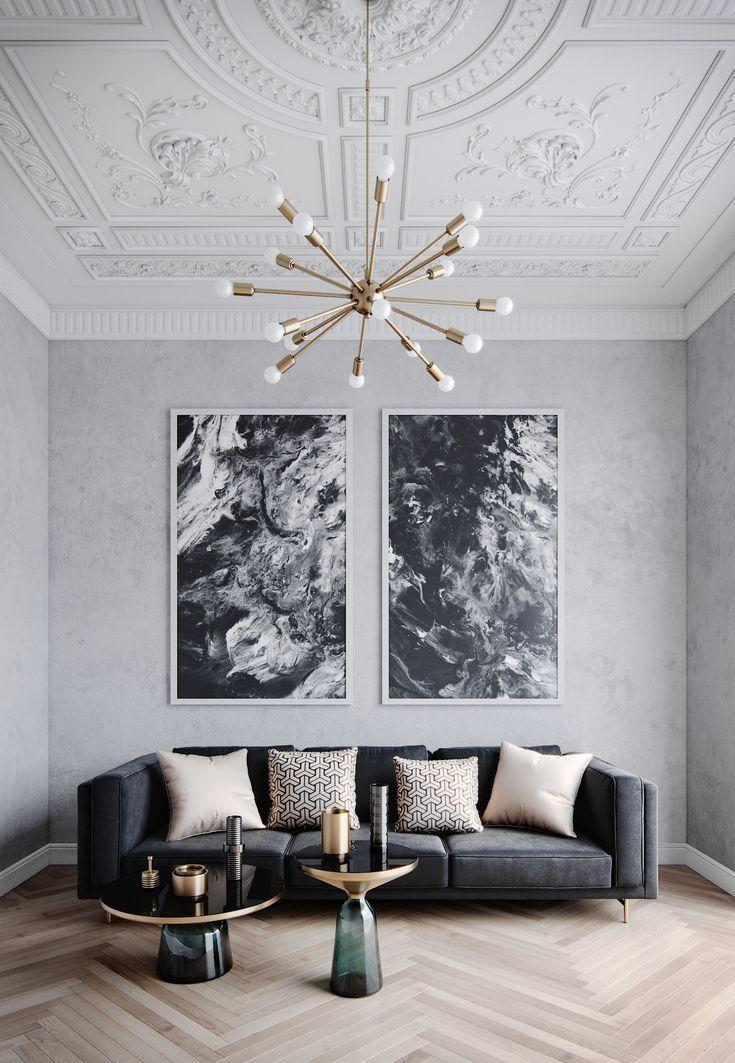 Designer: Brook Lang Design. Monochromatischer Raum mit überwiegend Schwarz, Weiß und Nu