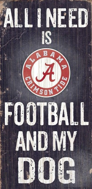 "Alabama Crimson Tide Wood Sign - Football and Dog 6""""x12"""""