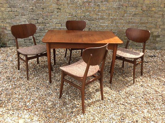 mid century 1950s austin suite dining table and four butterfly