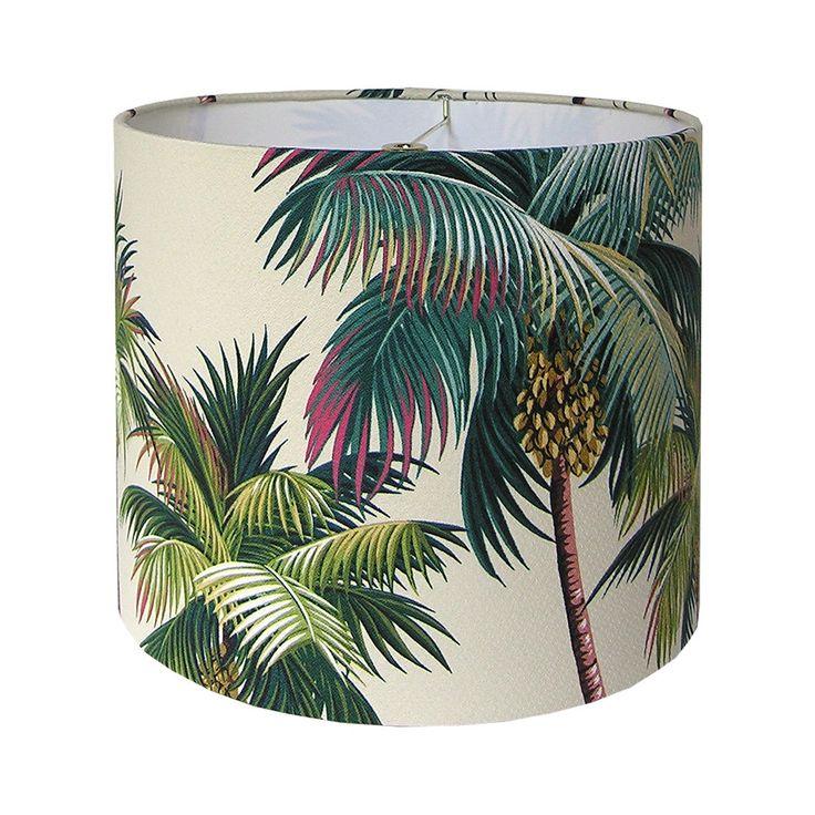 Tropical Lamp Shade - Custom Lamp Shade - Palm Trees Lampshade - Hawaiian Bark Crepe - Green Lampshades - Island Beach Decor - Made to Order by CruelMountain on Etsy https://www.etsy.com/listing/274662022/tropical-lamp-shade-custom-lamp-shade