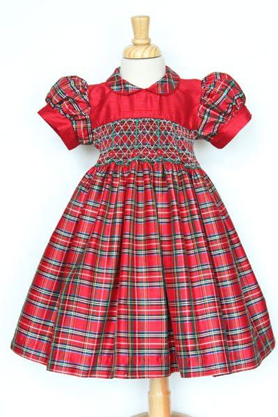Love it for her fist Christmas!    Girls silk tartan Christmas day dress – Carousel Wear