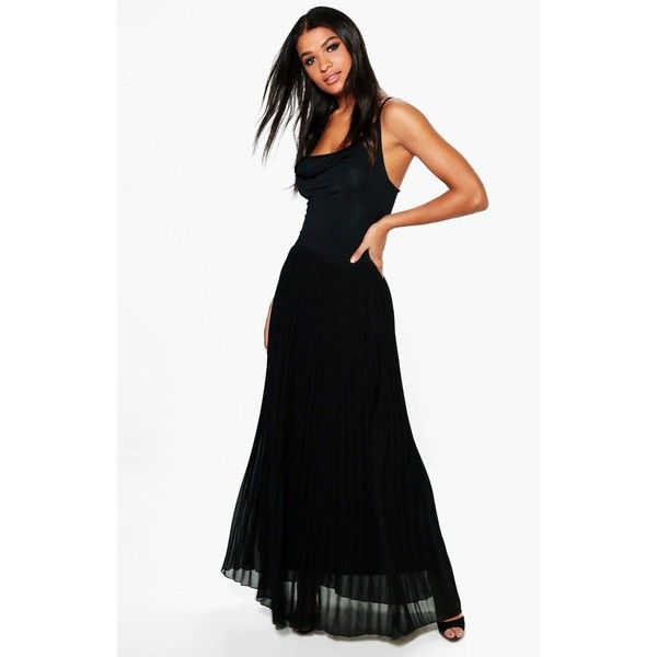 Boohoo Mia Chiffon Pleated Maxi Skirt ($44) ❤ liked on Polyvore featuring skirts, long white maxi skirt, maxi skirts, pleated chiffon maxi skirt, white chiffon maxi skirt and white pleated skirt