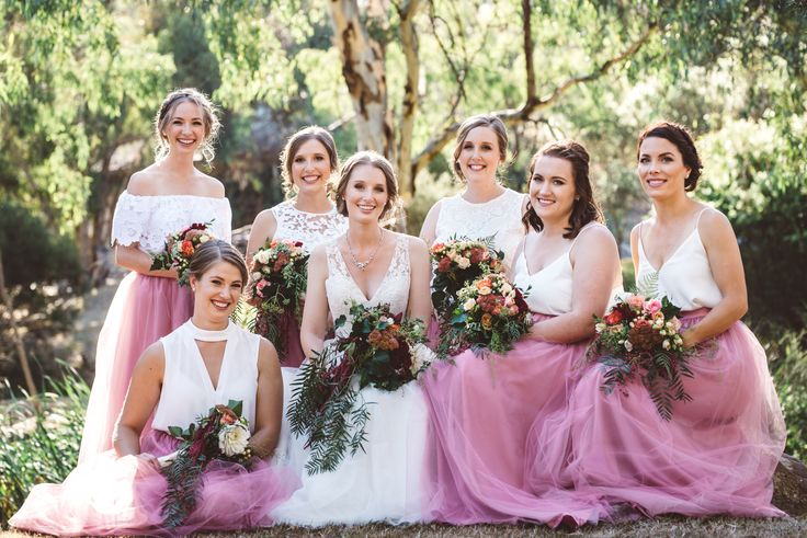 Pink and white bridesmaid two piece dresses.  #australianwedding #bridesmaiddress #pinkbridesmaid #twopiecedress #bridesmaidinspo #weddinginspriation #weddingphotographer
