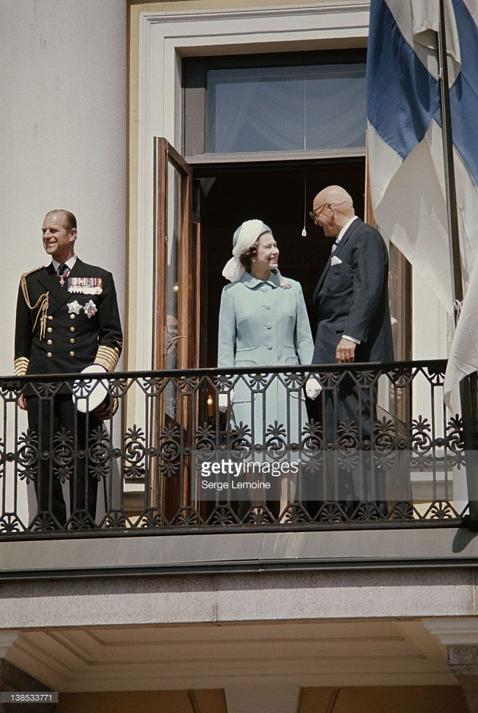Queen Elizabeth II and Prince Philip in Helsinki with Finnish President Urho Kekkonen, during a state visit to Finland, May 1976.