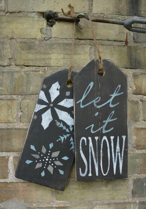Let it Snow sign. Rustic winter decor. by MoonenDavisdeSIGN