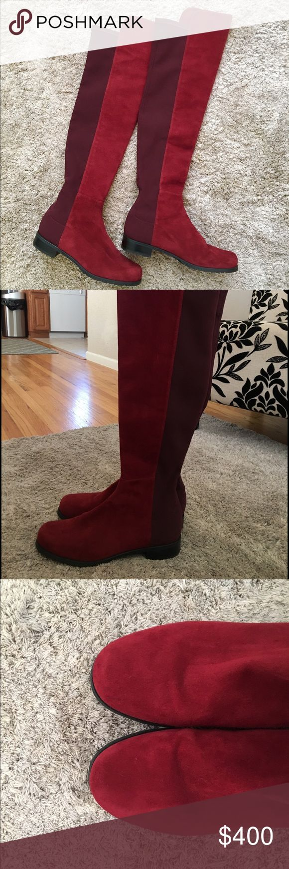 Stuart Weitzman 5050 boots Size 8 Stuart Weitzman red suede 5050 boots. Only worn twice, in very good condition Stuart Weitzman Shoes Over the Knee Boots