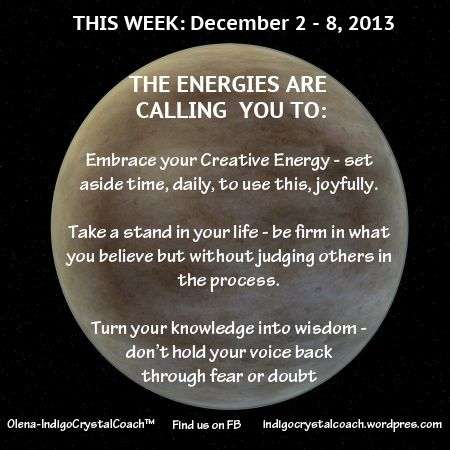 Weekly Energy Report for Week of December 2/13 http://www.facebook.com/IndigoCrystalCoach