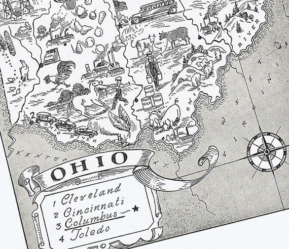 MAP of OHIO Vintage Whimsical Adorable by BlastsFromThePast