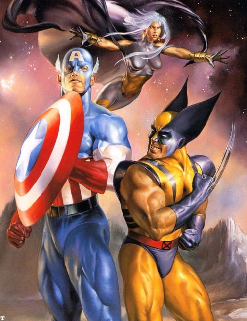 Captain America, Wolverine & Storm by Julie Bell