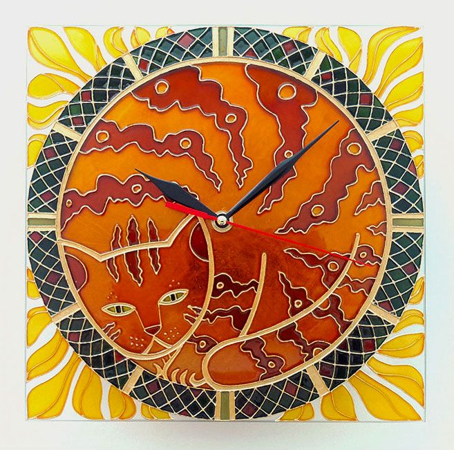 Hand painted wall clock - Cat in Sunflower