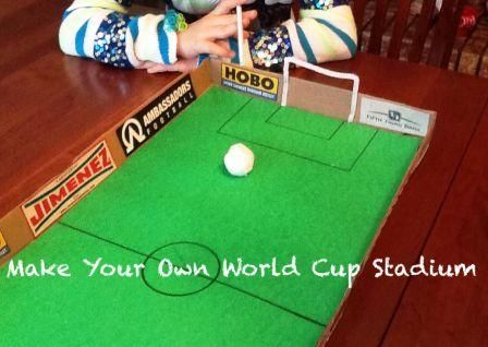 This World Cup Football Stadium game is made from old pizza boxes, great fun as you get ready for the Brazil World Cup.