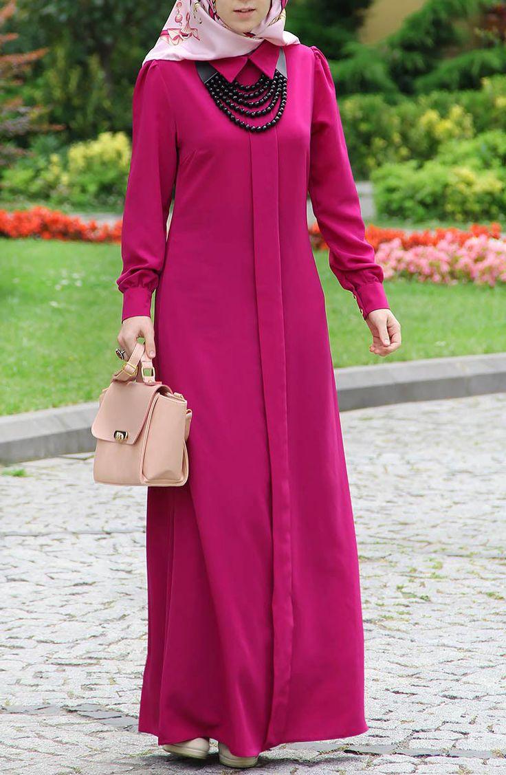 Kolyeli Klasik Elbise - Mor
