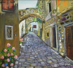 Raija Merila Painting - Street View In Pula by Raija Merila