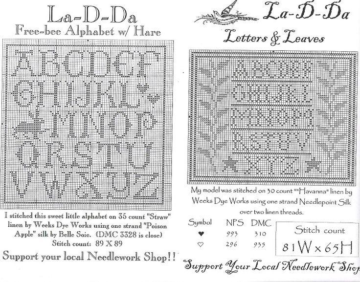 back stitch alphabet charts   Cross Stitch Letter Pattern Generator La-d-da freebies - alphabet