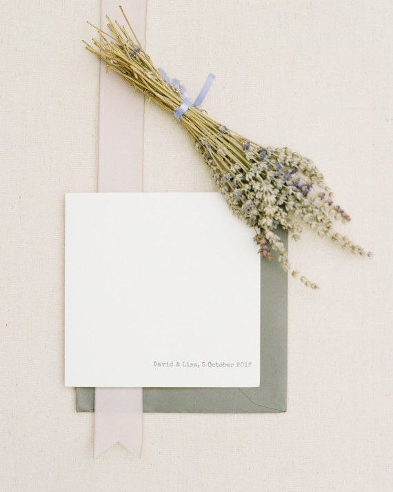 Lisa ordered supplies from Cards and Pockets and designed the stationery herself. With a little help from her bridesmaids, she assembled them and mailed them off in slate gray envelopes.
