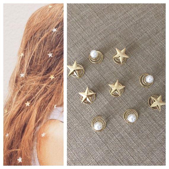 Hair stars pearls spirals pins 18k gold plated by luxycorner