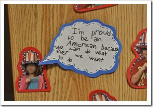 """Take an """"uncle sam"""" pic of kids and have a speech bubble: """"I'm proud to be an American because...."""""""